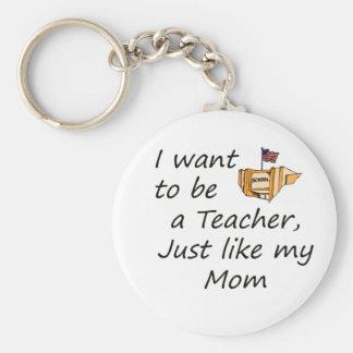 Teacher like mom basic round button key ring