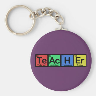 Teacher made of Elements colors Basic Round Button Key Ring