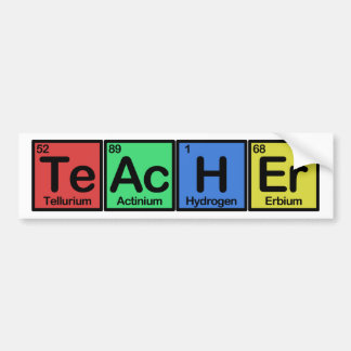 Teacher made of Elements colors Bumper Sticker