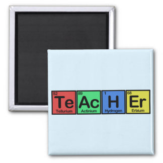 Teacher made of Elements colors Square Magnet