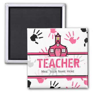 Teacher Magnet - Pink & Black Handprints