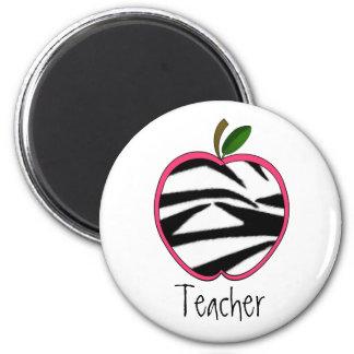 Teacher Magnet - Zebra Print Apple