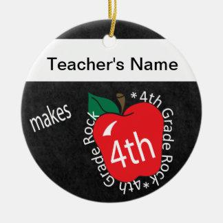 Teacher Makes 4th Grade Rock | Chalkboard Round Ceramic Decoration