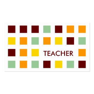 TEACHER (mod squares) Business Card Templates