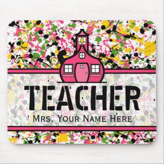 Teacher Mousepad - Multi Color Paint Splatter
