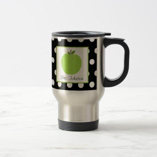 Teacher Mug Green Apple Black With White Polka Dot