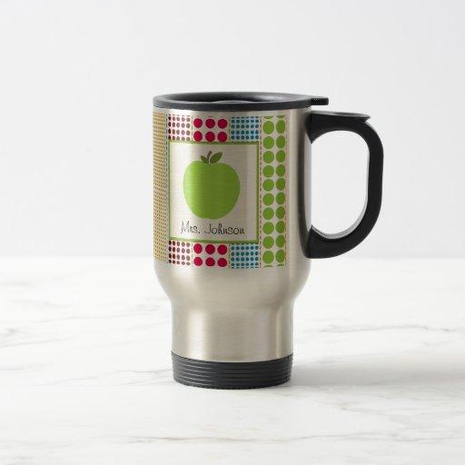 Teacher Mug Green Apple Multicolored Polka Dots