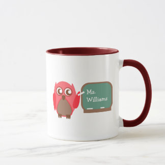 Teacher Mug - Red Owl at Chalkboard