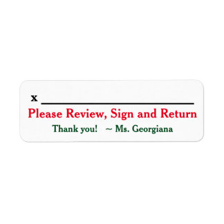 "Teacher Name + ""Please Review, Sign and Return"" Return Address Label"