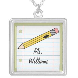 Teacher Necklace - Yellow Pencil & Notebook Paper