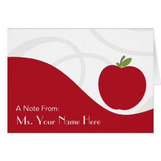 Teacher Note Card - Red Apple