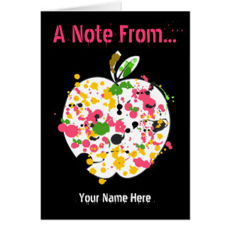 Teacher Notecard - Paint Splatter Apple