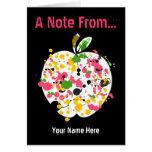Teacher Notecard - Paint Splatter Apple Note Card
