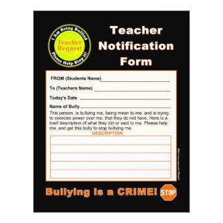 Teacher Notification Form For Bullying 21.5 Cm X 28 Cm Flyer
