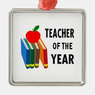 teacher of the year Silver-Colored square decoration