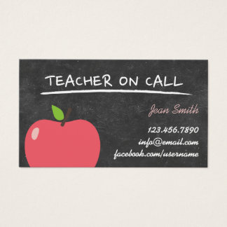 Teacher on Call Cute Apple Chalkboard Business Card