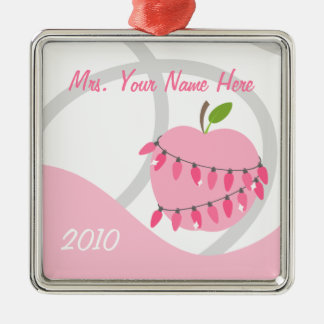 Teacher Ornament - Pink Apple & Christmas Lights