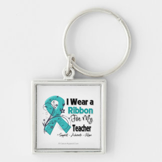 Teacher - Ovarian Cancer Ribbon Silver-Colored Square Key Ring