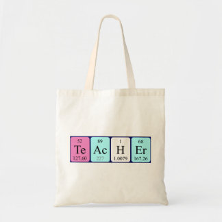 Teacher periodic table name tote bag