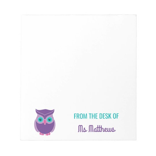 Teacher Personalised Cute Purple Owl From The Desk