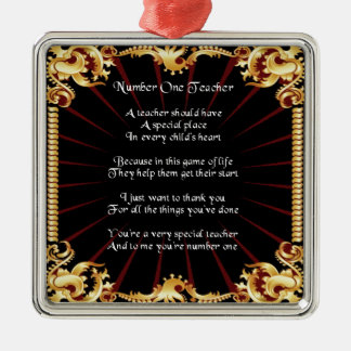 Teacher  Poem  -   Black Design Silver-Colored Square Decoration
