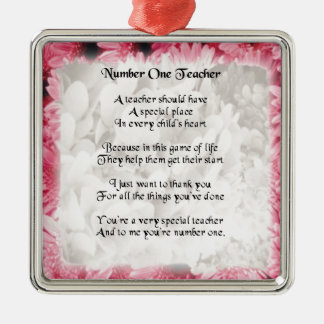 Teacher Poem  -  Pink Floral edge Design Silver-Colored Square Decoration