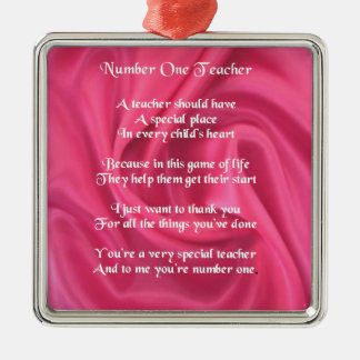 Teacher Poem -  Pink Silk Design Silver-Colored Square Decoration