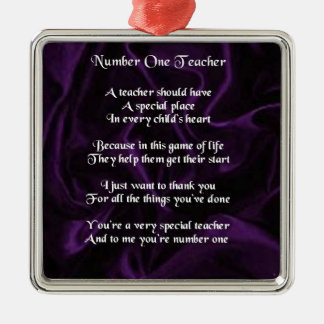 Teacher Poem -  Purple Silk Design Silver-Colored Square Decoration