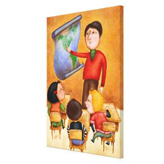 Teacher pointing to map, three children in desks canvas print