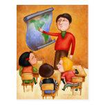 Teacher pointing to map, three children in desks post cards