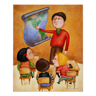 Teacher pointing to map, three children in desks poster