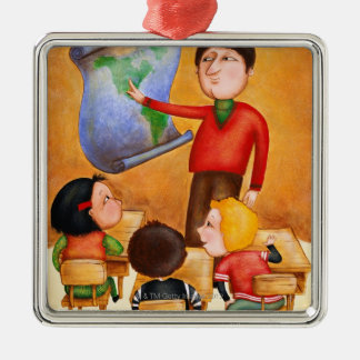 Teacher pointing to map, three children in desks Silver-Colored square decoration