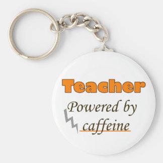 Teacher Powered by caffeine Basic Round Button Key Ring