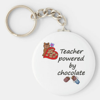 Teacher powered by Chocolate Basic Round Button Key Ring