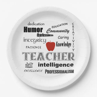 Teacher Pride+Red Apple 9 Inch Paper Plate