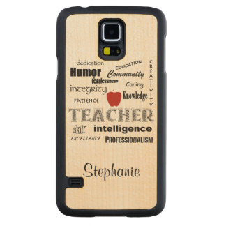 Teacher Pride+Red Apple/Personalize Name Carved Maple Galaxy S5 Case
