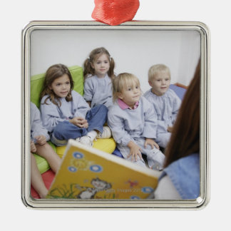 Teacher reading to students Silver-Colored square decoration