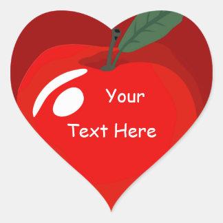 Teacher Red Apple Heart Shape Sticker