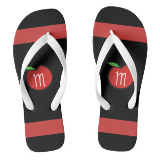 Teacher Red Apple Monogram Personalized Flip Flops