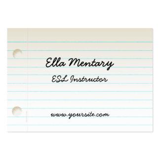Teacher s Notebook Paper Business Card Templates