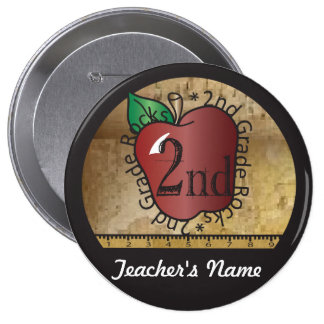Teacher s Vintage Styled 2nd Grade Button Pin