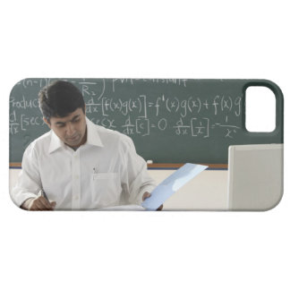 teacher sitting at desk, working barely there iPhone 5 case