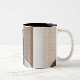 Teacher standing in classroom 2 Two-Tone mug