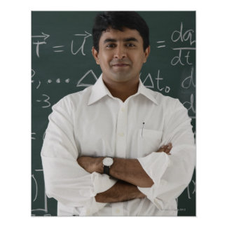 teacher standing in front of chalkboard, arms poster