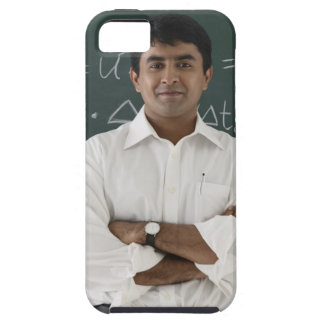 teacher standing in front of chalkboard, arms tough iPhone 5 case