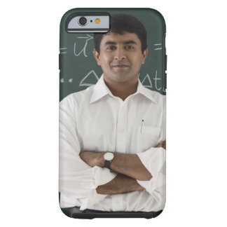 teacher standing in front of chalkboard, arms tough iPhone 6 case
