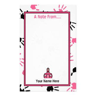 Teacher Stationery - Pink & Black Handprints