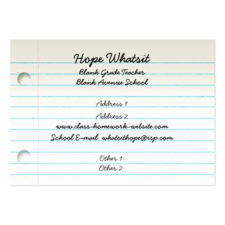 Teacher Student Notebook Paper Business Card