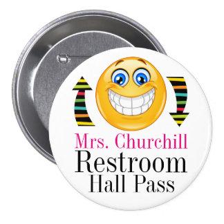 Teacher Student Restroom Pass 7.5 Cm Round Badge