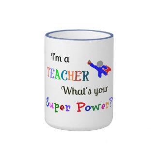 Teacher Superhero Ringer Coffee Mug